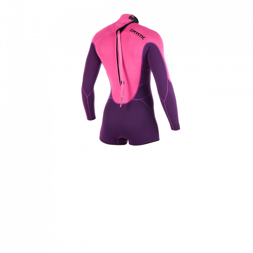 Mystic Womens Brand 3//2mm BZip Flatlock Shorty Wetsuit 2020 Purple